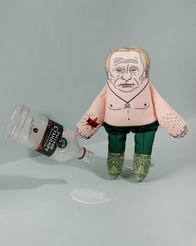 Vladimir Putin dog toy with bottle of vodka