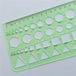 Geometry Drawing Template Ruler Green Plastic Student Lab Stationery Measuring Tool Ruler School Supplies