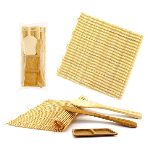 Sushi Making Kit 2x Natural Rolling Mats, 1x Rice Paddle, 1x Spreader, 1x Sauce Dish | 100% Bamboo Mats and Utensils