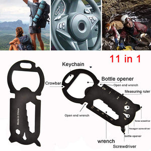 11 in 1 Multi-Function EDC Card Keychain Creative Bottle Opener Survival Pocket Tool Portable Multi-Purpose Gadget