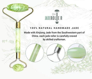 100% Natural Jade Roller | Gua Sha Tool | Anti Aging Massage and Lymph Drainage Tool for Face, Eye, Neck, Body | For Lymphatic Massage, Wrinkles, Puffiness, and Fine Lines