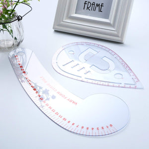6 Pieces French Metric Ruler Plastic Sewing Tools
