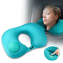 Load image into Gallery viewer, U-Shape Inflatable Travel Pillow Folding Automatic Neck Pillow Car Air Inflatable Pillows Neck Cushion Travel Headrest Portable