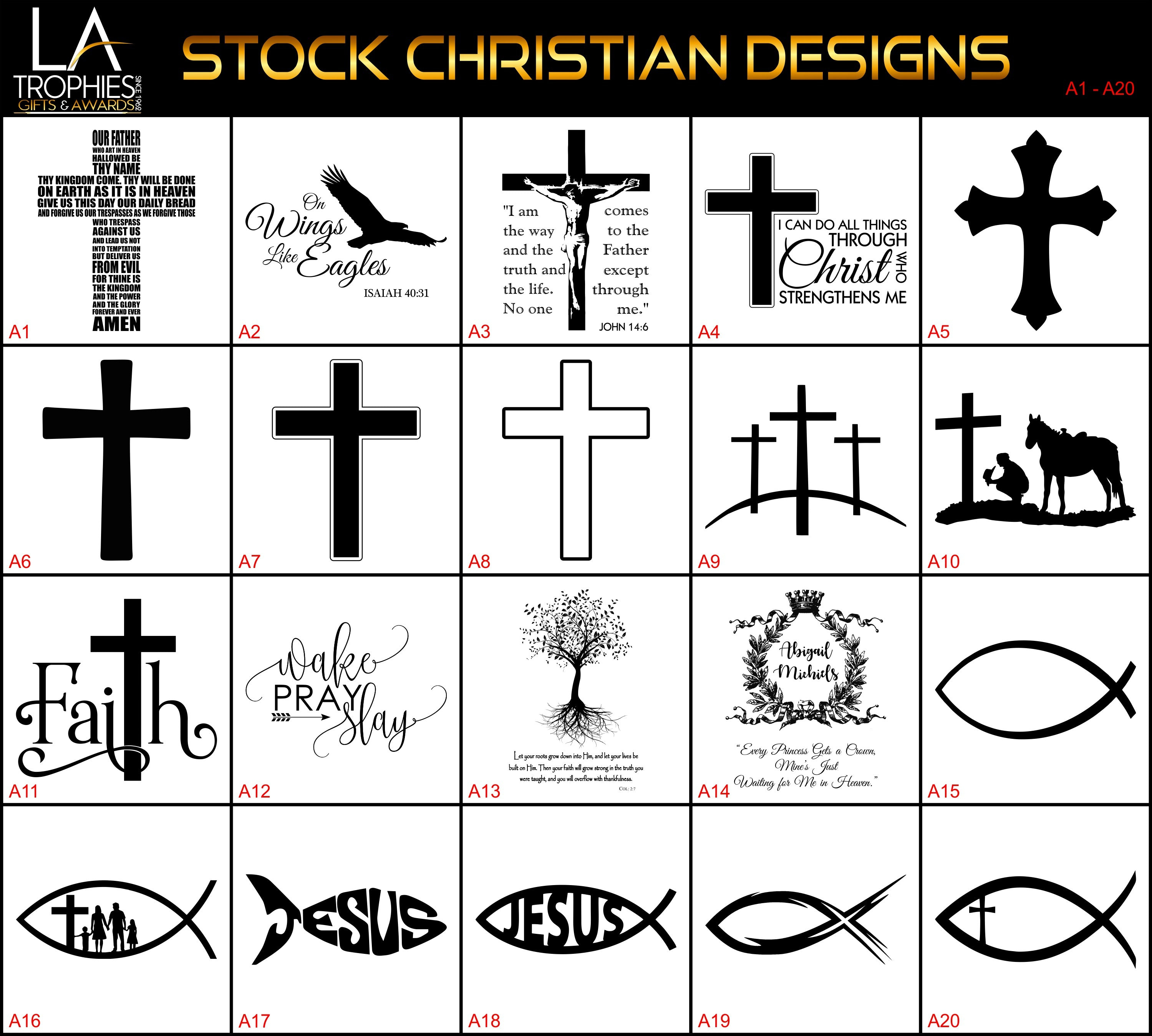 A1-A20 - Stock Christian Designs LA Trophies