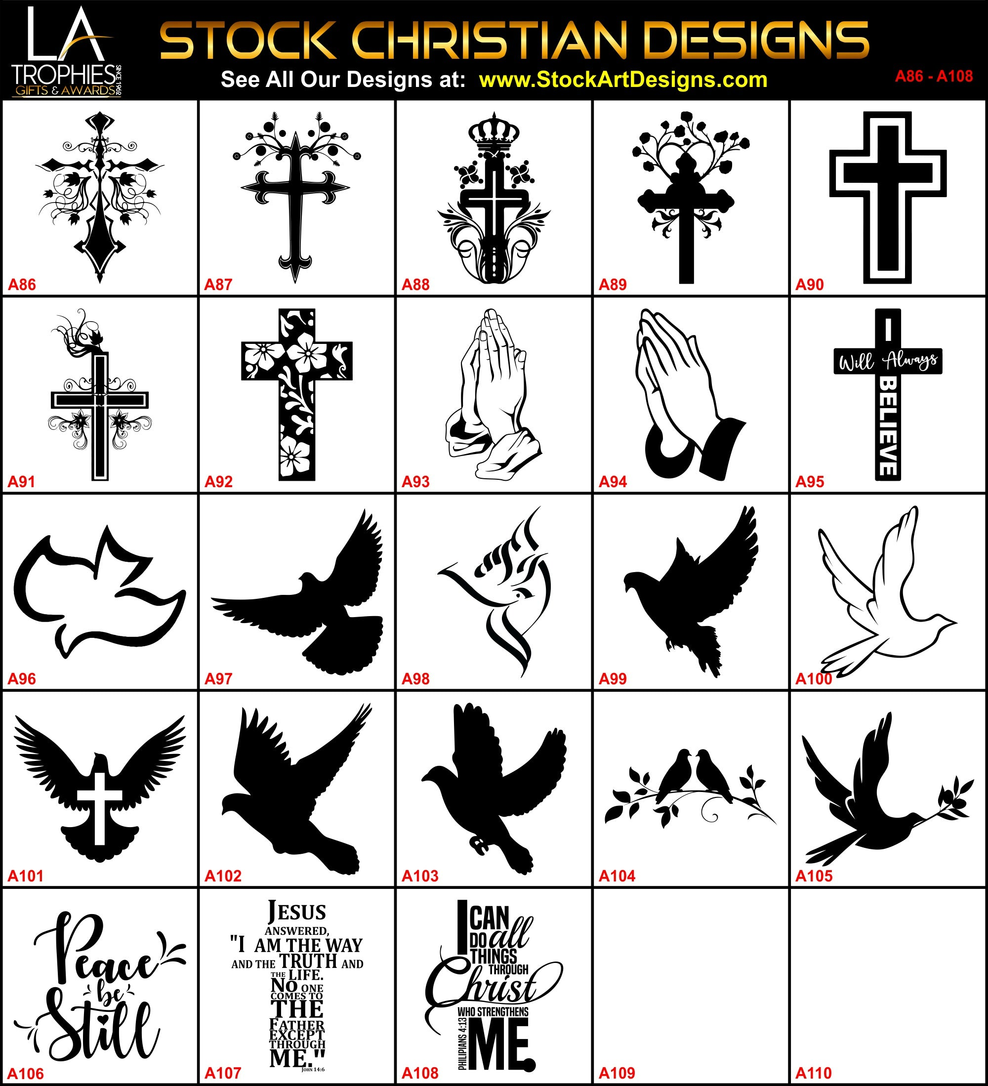 LA Trophies - A86-A108 - Stock Christian Designs