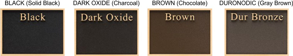 Cast Metal Plaques Background Colors - Black, Brown, Duronodic, and Dark Oxide