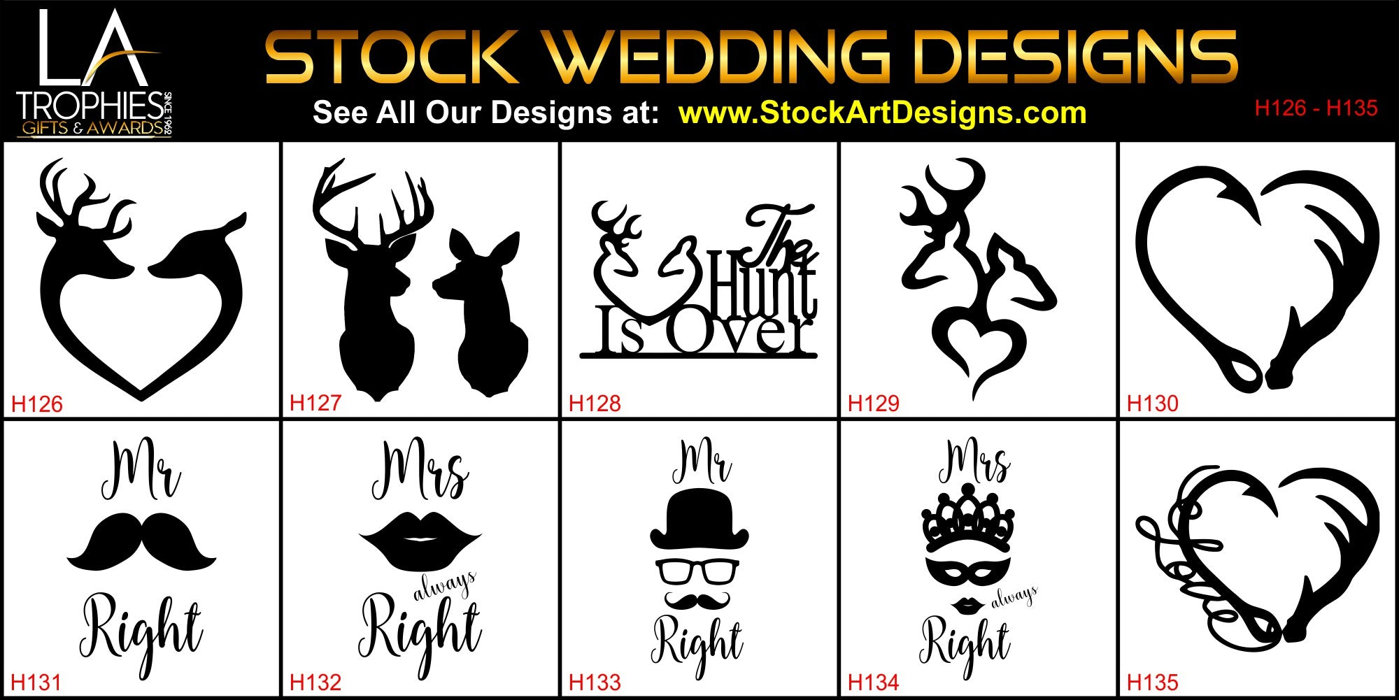 H126-H135 - Stock WEDDING PARTY Designs LA Trophies