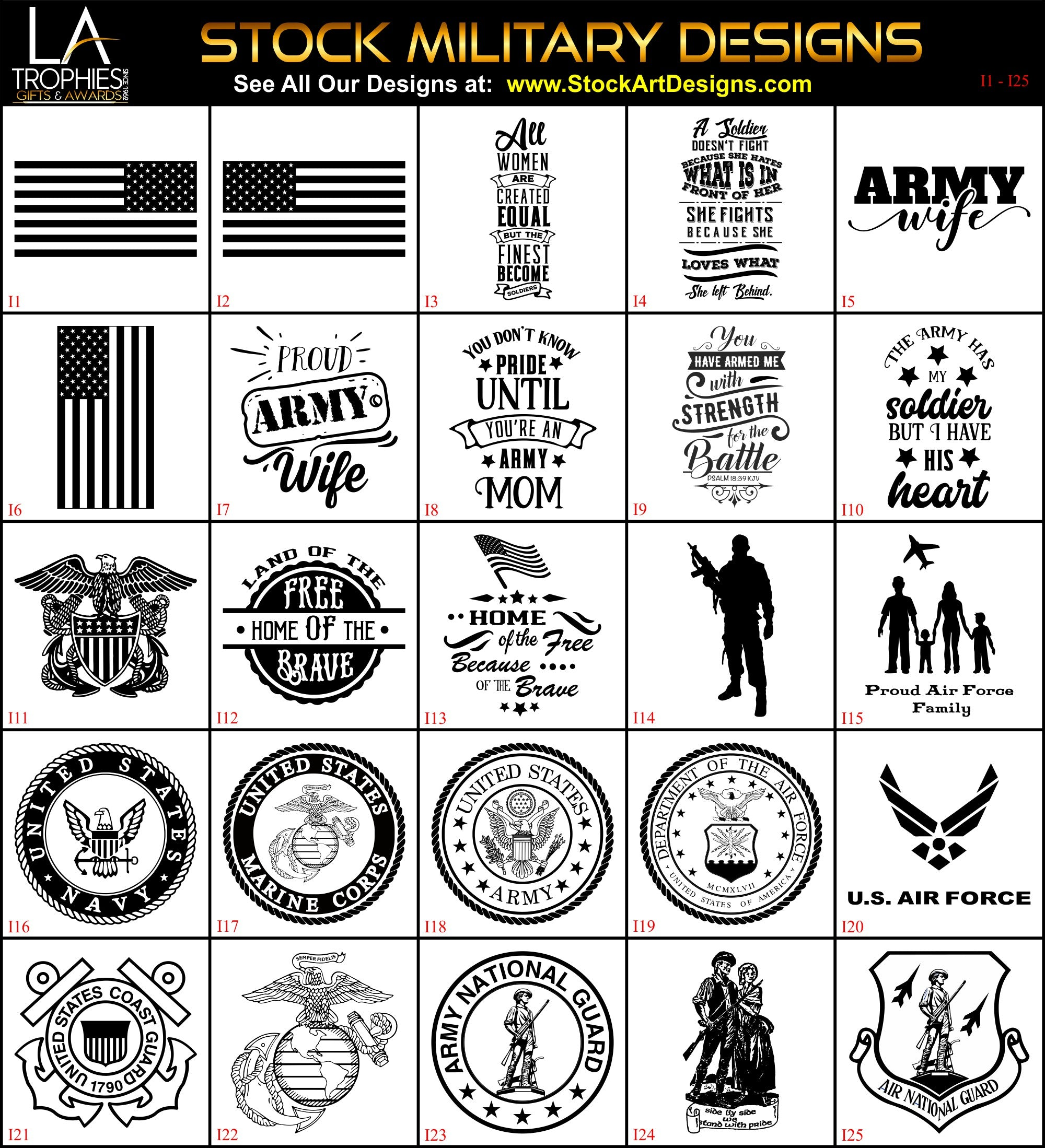 I1-I25 - Stock MILITARY Designs LA Trophies Laserable Artwork