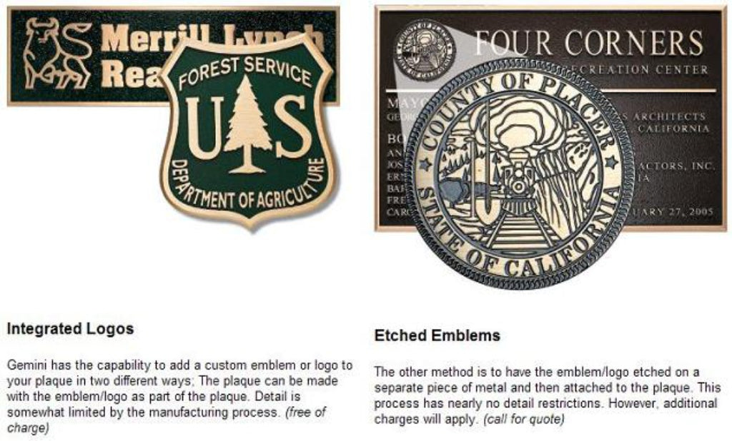 Cast Metal Plaques integrated Logo and Emblems
