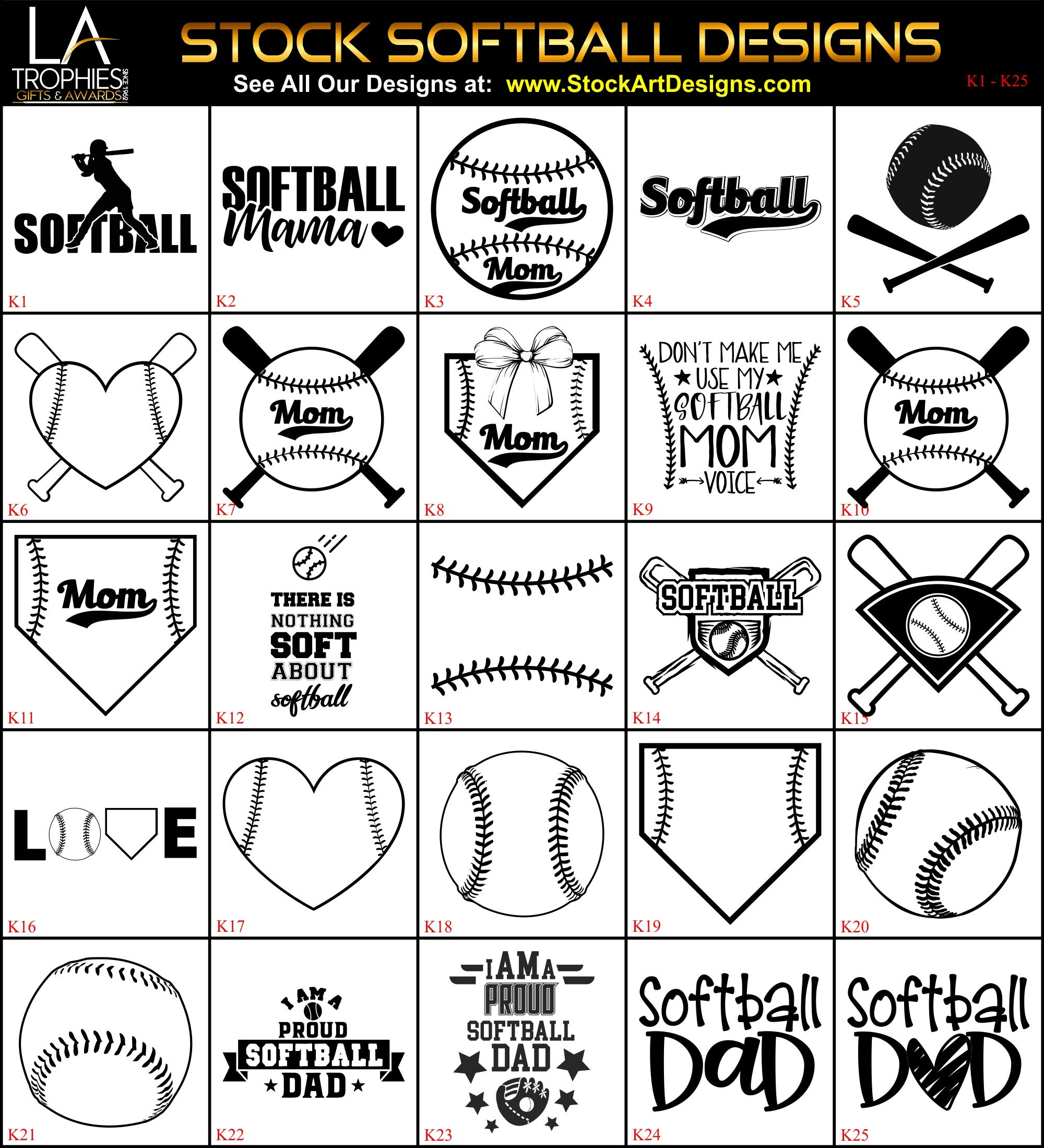 K1-K25 Stock Softball Designs for Laser Engraving LA Trophies