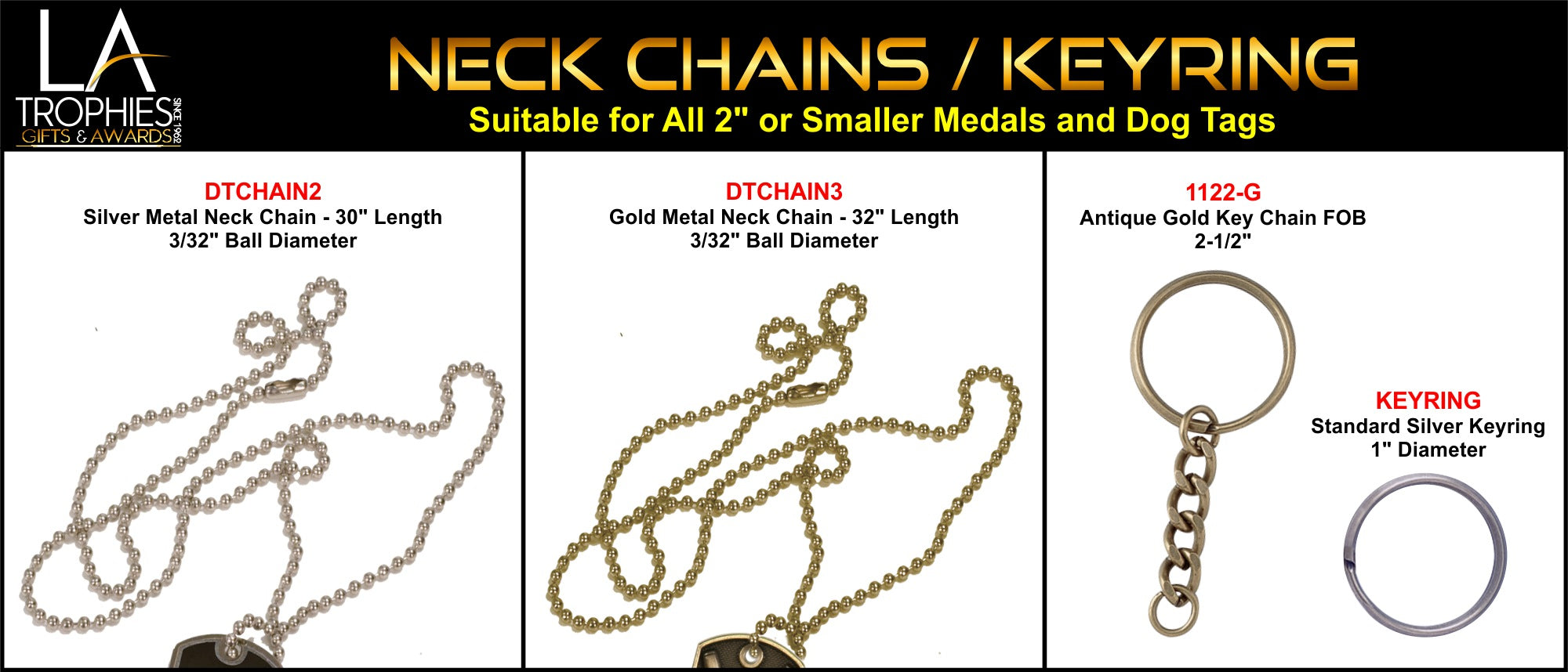 "Dog Tag Gold or Silver Neck Chains and Antique Gold Key Ring for Medals 2"" or smaller"
