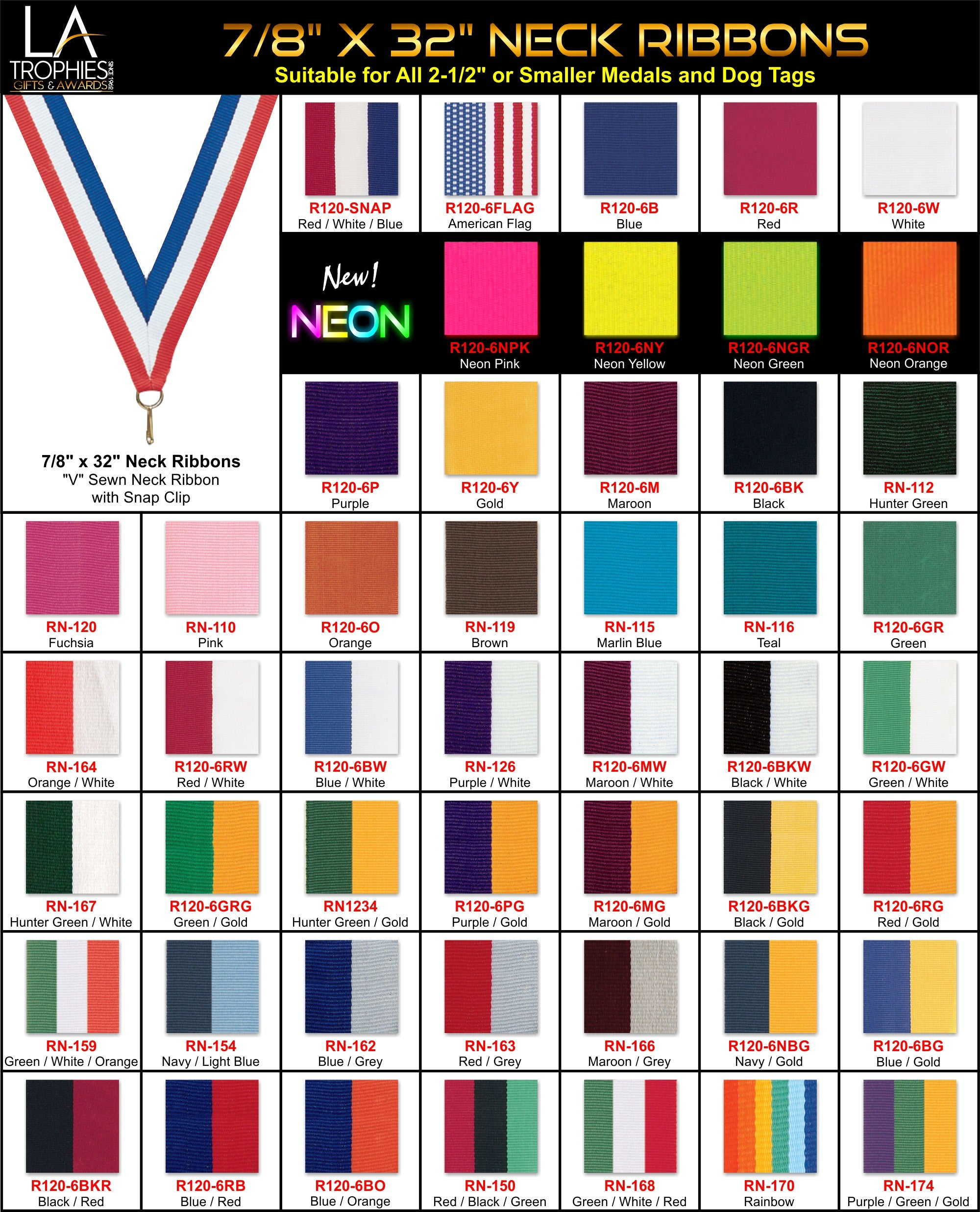 """7/8"""" Neck Ribbons for Medals 2-1/2"""" or Smaller"""