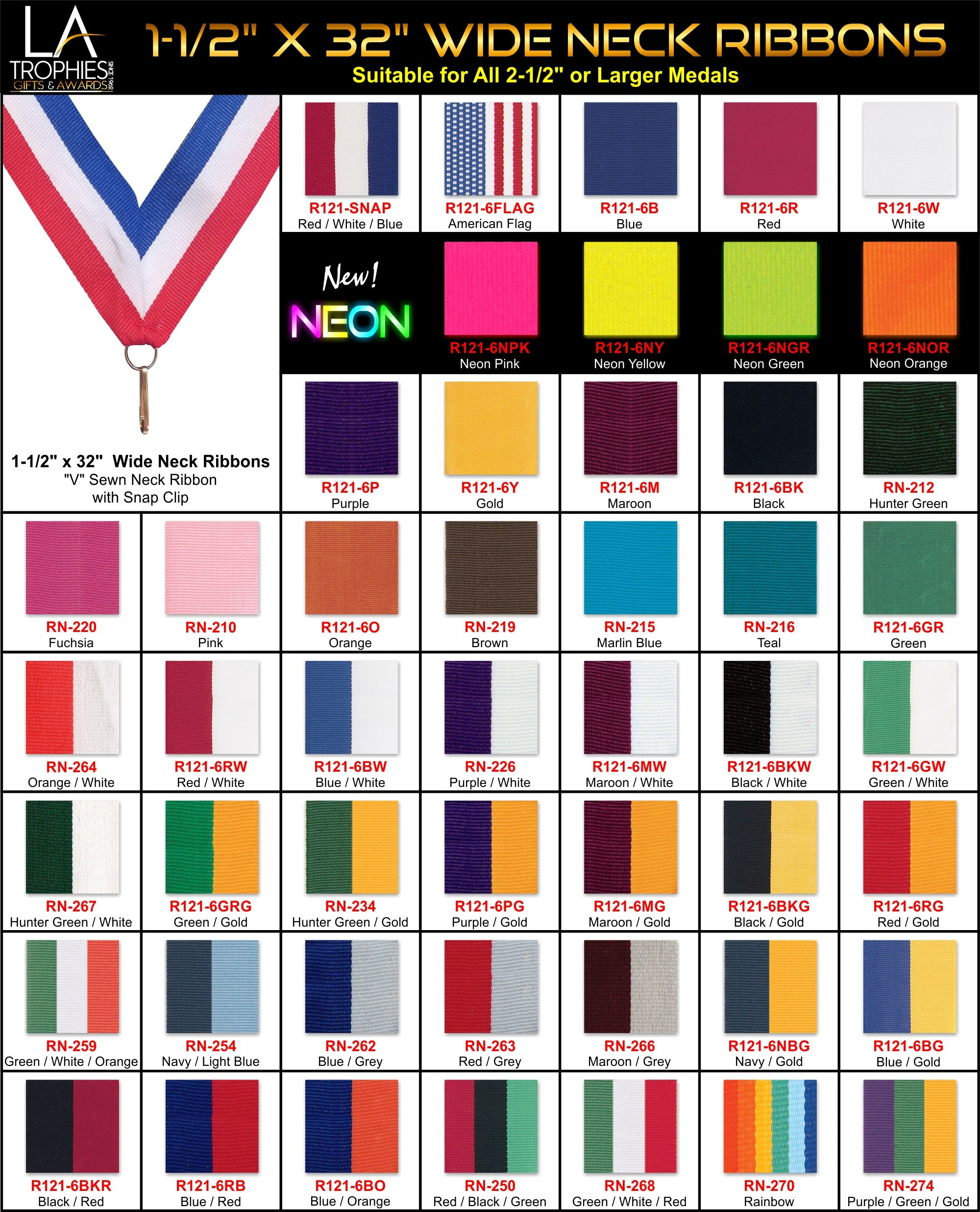 "1-1/2"" Wide Neck Ribbons for Medals 2-1/2"" and Larger"