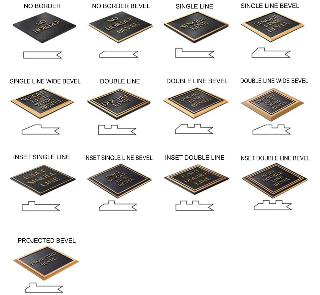 Cast Metal Plaques Standard Border Options