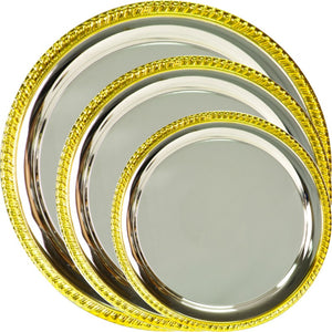 Engravable Gold-Rim Silver Plated Award Tray | 3 SIZES
