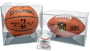BallQube Clear Display Cases with Grandstand Ball Holders | 3 SIZES