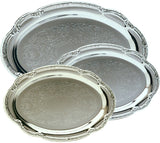 Engravable Silver and Chrome-Plated Elegant Pattern Oval Award Tray | 2 SIZES