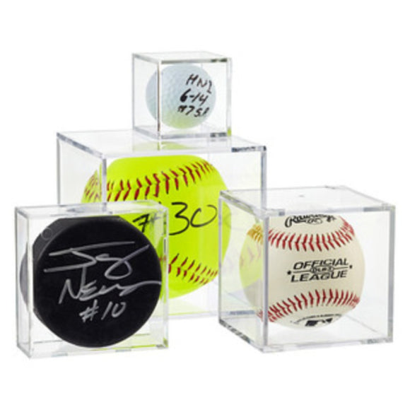 BallQube Clear Display Cases for Baseball, Softball, Golf Ball, Hockey Pucks