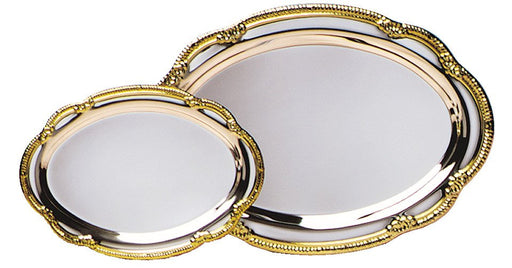 Engravable Gold-Rim Silver Plated Oval Award Tray | 2 SIZES