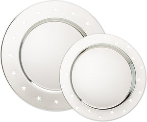 Engravable Raised Stars Chrome Plated Charger Award Tray | 2 SIZES