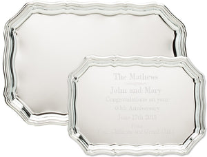 Engravable Rectangle Chrome Plated Award Tray | 2 SIZES