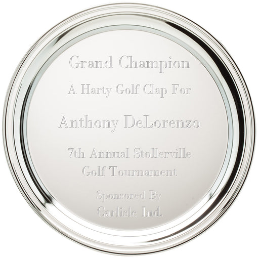 Engravable Chrome Plated Silver Award Tray