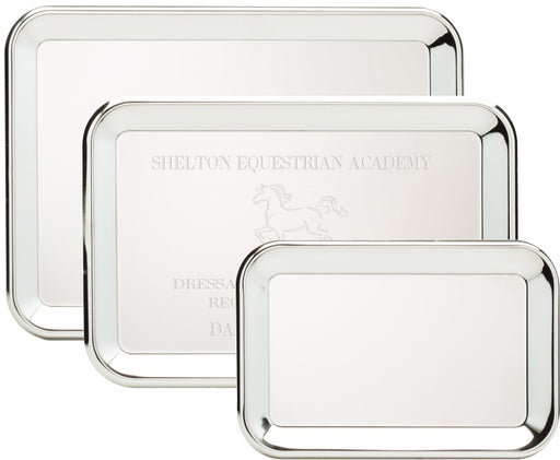 Engravable Rectangle Silver Plated Award Tray | 3 SIZES