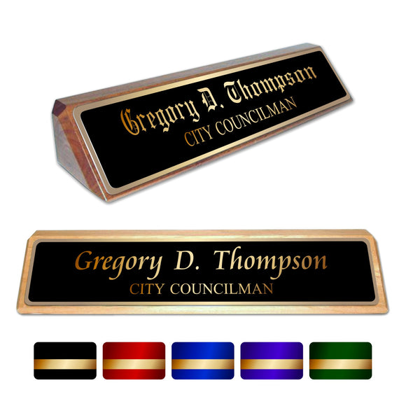 LA Trophies - Genuine Walnut and Red Alder Desk Wedge Nameblocks - GOLD Engraving | 2 WOODS | 3 FONTS | 5 PLATE COLORS