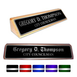 LA Trophies - Genuine Walnut and Red Alder Desk Wedge Nameblocks - SILVER Engraving | 2 WOODS | 3 FONTS | 5 PLATE COLORS