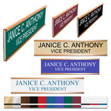 LA Trophies - GOLD Metal Wall / Door Holder with Slide In Plastic Nameplate | 2 SIZES | 3 FONTS | 12 PLATE COLORS