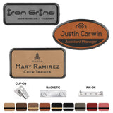 LA Trophies - Leatherette Name Badges in Black Frames with MAGNETIC / PIN-ON / CLIP-ON Backing | 3 SIZES | 9 COLORS