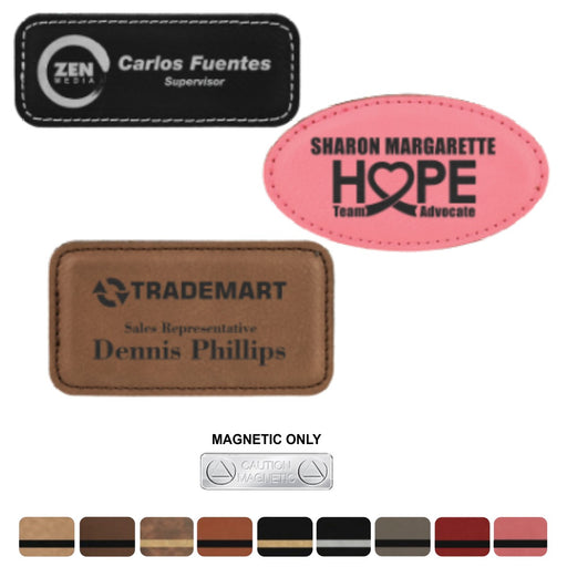LA Trophies - Leatherette Name Badges with Magnetic Backing | 3 SIZES | 9 COLORS