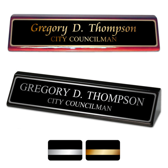 LA Trophies - Piano Finish Rosewood and Black Desk Wedge Nameblocks | 3 FONTS | 2 PLATE COLORS