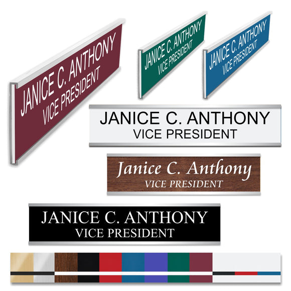 LA Trophies - SILVER Metal Wall / Door Holder with Slide In Plastic Nameplate | 2 SIZES | 3 FONTS | 12 PLATE COLORS