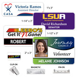 LA Trophies - FULL COLOR Plastic Name Badges MAGNETIC / PIN-ON / CLIP-ON Backing | 4 SIZES
