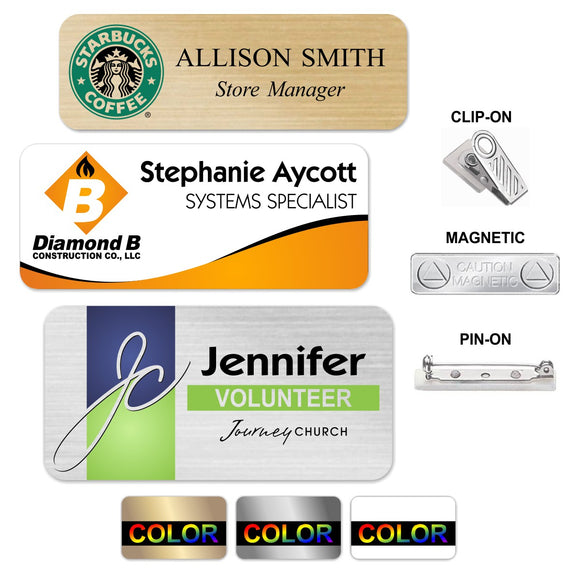 LA Trophies - FULL COLOR Metal Name Badges MAGNETIC / PIN-ON / CLIP-ON Backing | 3 SIZES | 3 COLORS