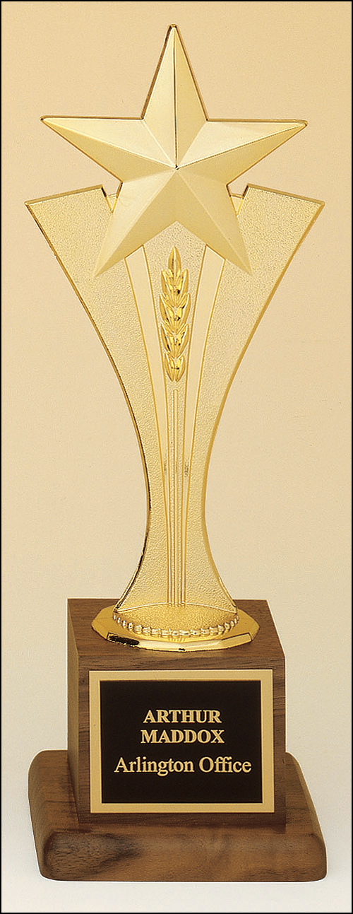 Airflyte Metal goldtone Star Riser casting on a solid American walnut base trophy
