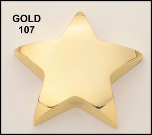 Airflyte Polished Gold and Silver Metal Star paperweights