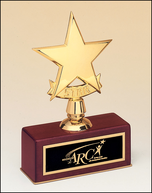 Airflyte Polished metal goldtone star casting on rosewood stained piano finish base trophy