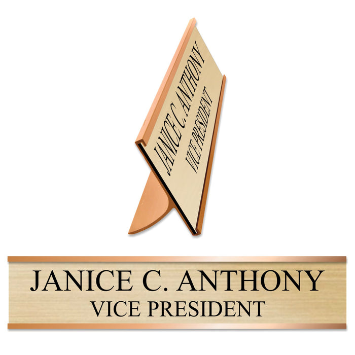 LA Trophies - GOLD Metal Desk Holder with Slide In Plastic Nameplate | 2 SIZES | 3 FONTS | 12 PLATE COLORS