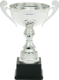 GreyStone - Portico Metal Cup Trophies on Black Plastic Base | 2 COLORS | 4 SIZES