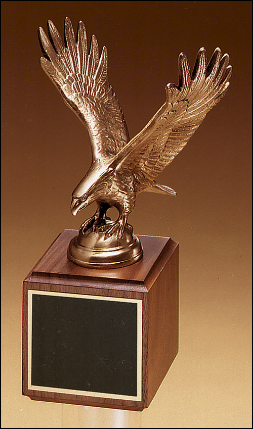 Airflyte Antique Bronze Fully Modeled Eagle casting on a Walnut base
