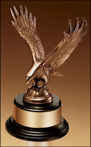 Airflyte Antique Bronze Fully Modeled Eagle casting on a round black wood base