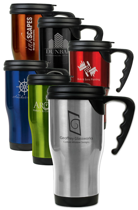 14 oz. Travel Mug with Handle | 6 Colors Available