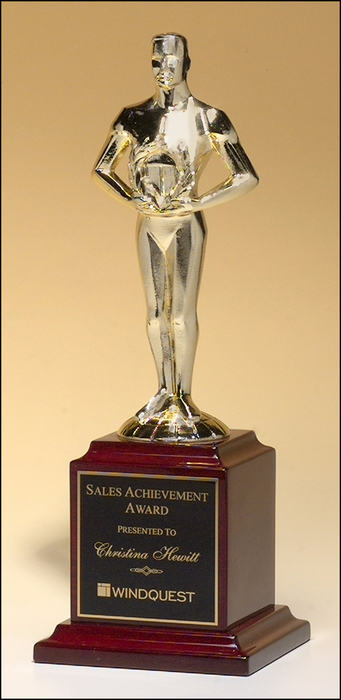 Airflyte Classic Achiever Trophy Goldtone Cast Metal figurine hand-polished on rosewood piano-finish base | 2 SIZES