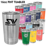 16 oz. Polar Camel PINT Style Tumblers with Slider Lid | 16 Colors Available