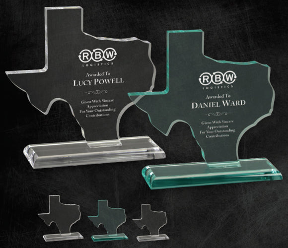 GreyStone Texas State Shape Acrylic on smooth edge acrylic base | 2 COLORS | 3 SIZES