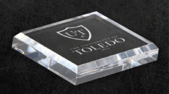 GreyStone Clear Radius Beveled Edge Square Paperweight | 2 SIZES