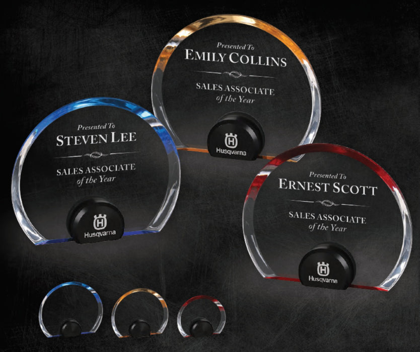 GreyStone Halo Circle Acrylic with black anodized aluminum stand | 3 COLORS | 3 SIZES