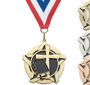 "2-1/4"" Super Star Series Award Medals on 7/8"" Neck Ribbons 